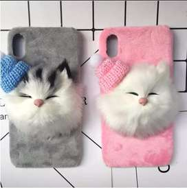 girls fluffy back cover in iphone and s8 above models avl