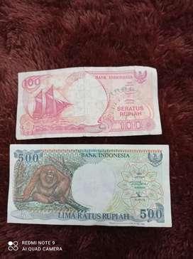 Jual uang kuno 100(1992) dan 500(1992)