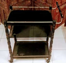 Glass trolley and bench