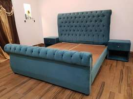 King Size Tufted Bed With Poshed Side tables.