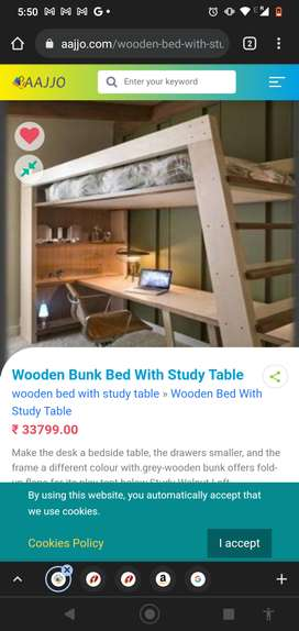 Kids bunk bed with studying table and self for salele
