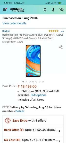 Redmi note 9 pro max blue clr 6/128 new launch mobile