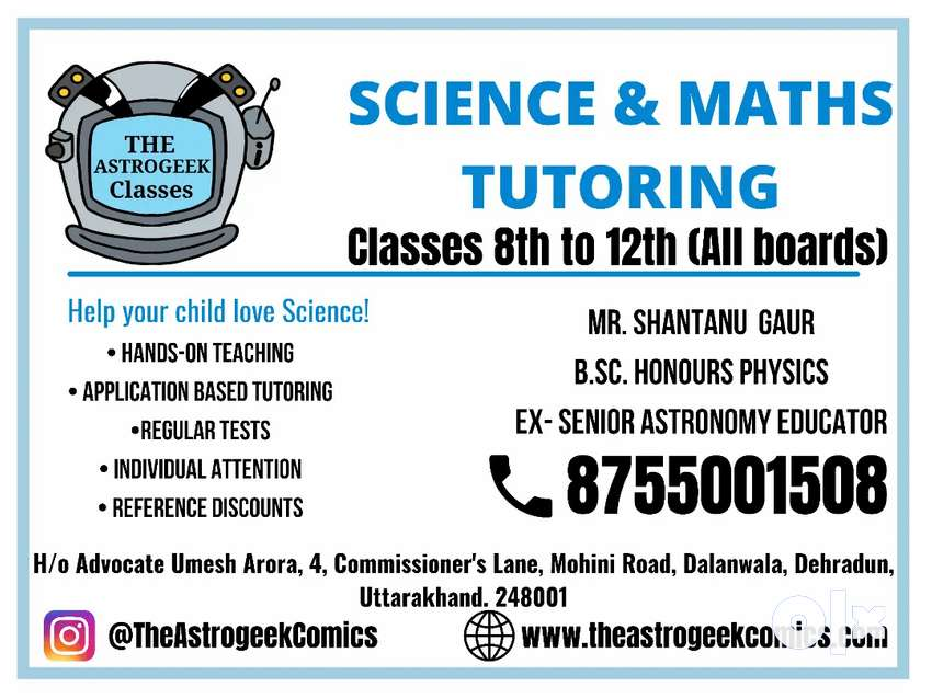 Online Science/Maths Tuitions for 10, 11, 12