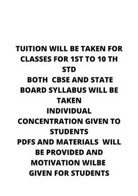 Tuitions taken