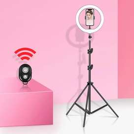 26 Cm Ring light With Mobile Holder with Tripod Stand Bluetooth remote