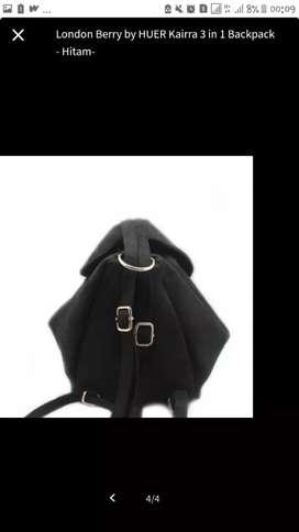 Dijual tas ransel hitam kulit London berry by huer Keira 3in