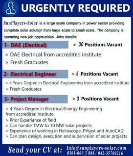 Staff Required (Electrical)