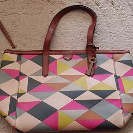 Preloved Fossil shopper multipink Authentic