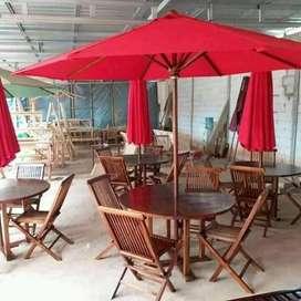 Meja payung bahan kayu jati finishing natural