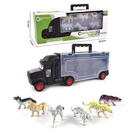 Container Truck with 6 Forest Animals