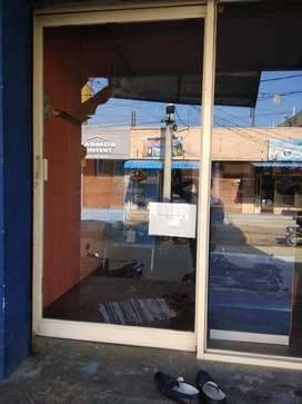 Clothes shop interior, glass door