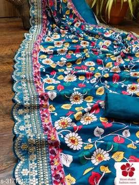 Cut work saree