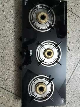Glen 3 Burner Toughened black glass Gas Stove