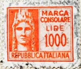 Prangko kuno jadul 1000 Lire Italy kondisi 96% barang antik