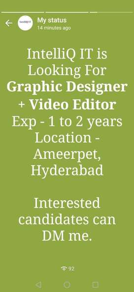 Looking for Graphic Designer & Video Editor