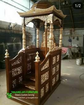 Mimbar podium masjid ukir Jepara mewah kayu jati solid