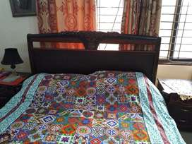 Complete bed set with bedroom chairs and additional table