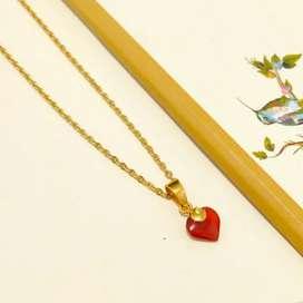 Kalung Liontin Merah Hati Necklace Gold Red Heart Toko Emas asli