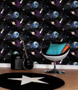 jual wallpaper dinding motif planet harga murah