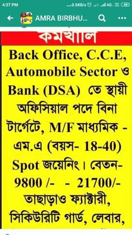 BACK OFFICE/BPO/Marketing/Sales/Data entry operator/Pvt Banking (DSA)
