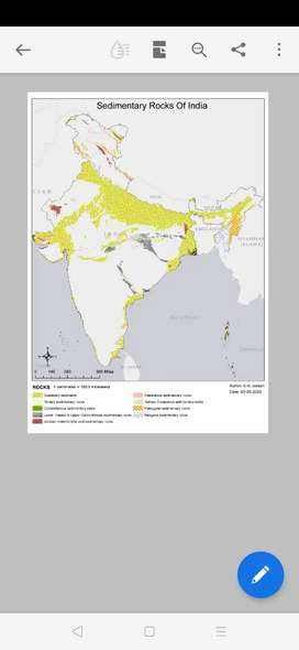 sedimentary rocks in india 600dpi high resolution map Rs  100