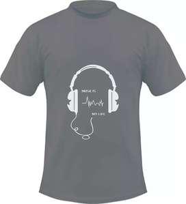 Kaos gambar headset music is my life, 1 desain hanya untuk 1 pembeli