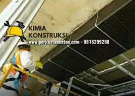 perkuatan struktur jembatan beton Carbon FRP eglass wrapping, grouting
