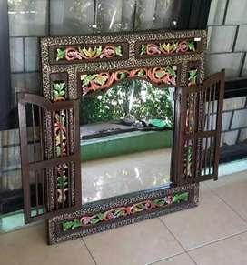 Kaca Full Colour Antique Modern Khas Kayu Jati Jepara