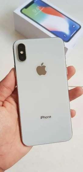 Iphone x 64gb silver mulus fullset lengkap