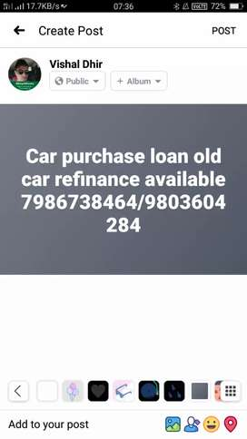 Car purchase loan old car refinance available