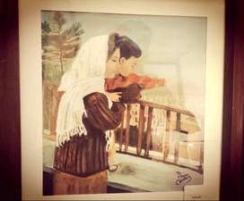 Original painting of mother and son arcylic wall painting