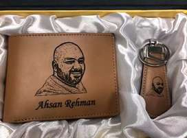 Wallet Keychain Set Your Pic Name Engraved Lifetime Customized