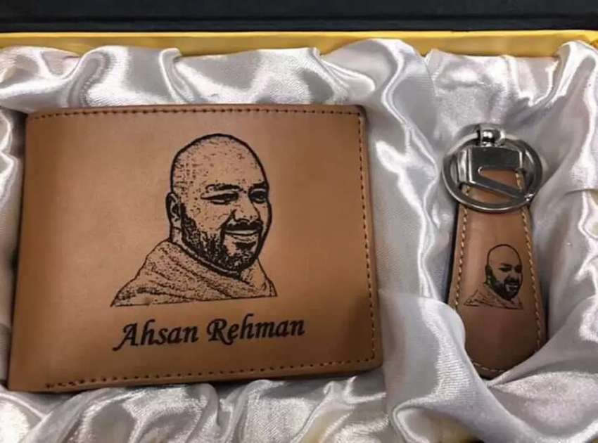 Wallet Keychain Set Your Pic Name Engraved Lifetime Customized 0