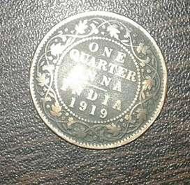 1919, King George V, Copper 1/4Anna, Calcutta Mint, Ghost impression