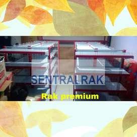 Rak gondola merah putih murah baja supermarket minimarket