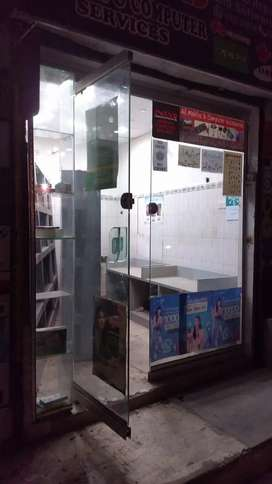 Shop front glass with dor machine & lock