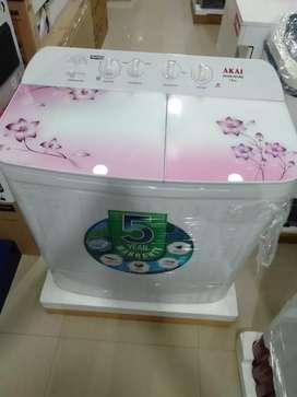 Akai 7.8kg washing Machine tuffan glass 1+5y warranty fix price