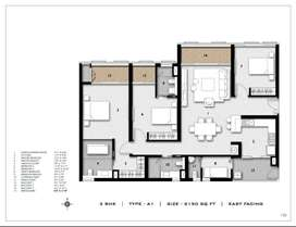 3bhk flat with luxurious and spacious rooms