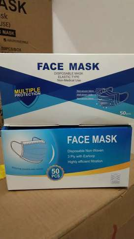 Masker disposable 3 ply. Isi 50 pcs