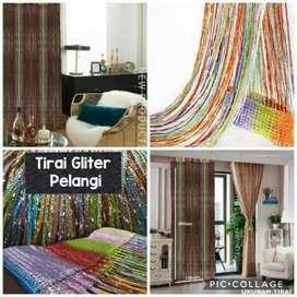 Tirai Pintu Benang Gradasi Glitter Rainbow Tirai Benang