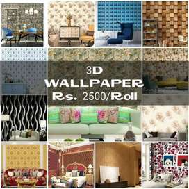 3d Wall paper, pictures & panel, vinyl & wooden floor, window blinds