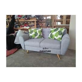 sofa retro kaki kayu 2 seat