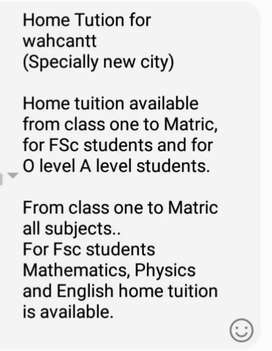 Home Tutor for wahcantt (Specially new city)