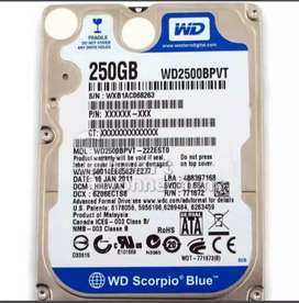 Laptop hard disks available in 250GB and 320GB capacities
