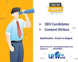 Hiring candidates for SEO and content writing.