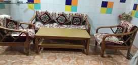 Sofa is ready for sale with a good quality wooden table