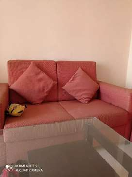 Sofa with dining table
