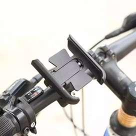 Holder hp stang motor sepeda rotasi 360 derajat aluminium