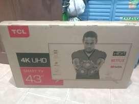 Smart tv LED tcl 43ins 4k baru gres