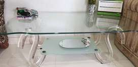 1 Tea table, 1 Center Table, 2 side tables All Glass and 1 high chair
